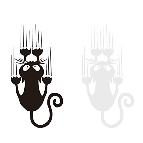 EQLEF Katze Autoufkleber, süße lustige Katze Kratzer kreative Vinyl Aufkleber Aufkleber - 2 Stück
