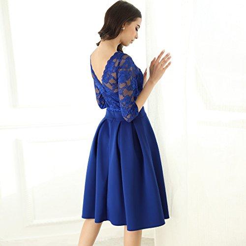 Miusol Cocktailkleid Spitzen 3/4 Arm Vintage Kleid Brautjungfer 50er Jahr Abendkleid Hellblau - 6