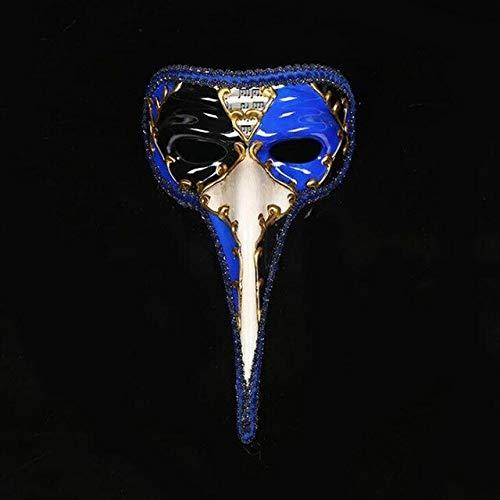 TWELVEMJVenezianische Maske kleine Lange Nase Halloween Maskerade Maske bemalt antike venezianische Maske Nasen Wang Erwachsene männliche Models, blau