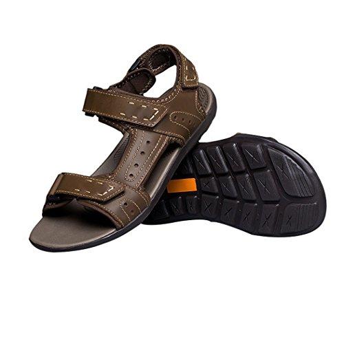 Pik & Clubs Herren Leder Offene Zehen Sommer Klettverschluss Athletic Outdoor Walking Trail Schuhe Sandalen Khaki