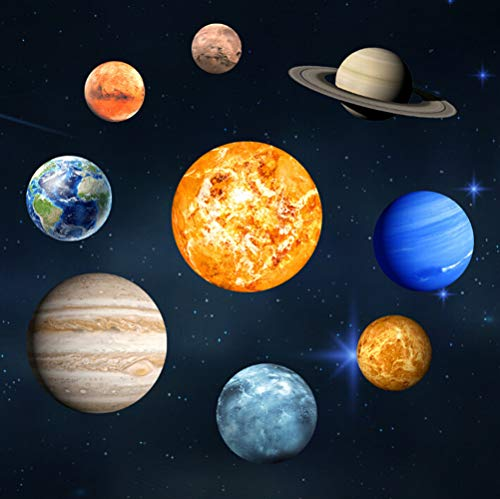 e Wandaufkleber, 3D kühle leuchtende Kugel Sterne Hintergrund, neun Planeten DIY Dekoration für Zuhause, Kinderzimmer ()