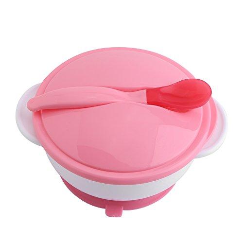 Saugnapf Schüssel TOPINCN Mit Löffel Set Baby Kinder Lebensmittel Fütterung Schalen Ausbildung Kunststoff Geschirr Dusche Geschenk(Red Thermal Spoon+Pink Bowl)