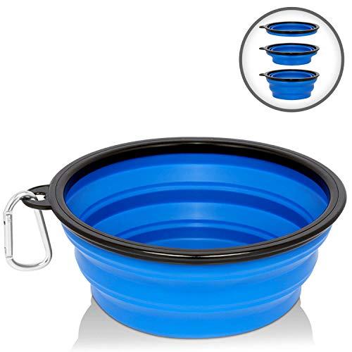 Silverback Hundenapf - Reisenapf Hund Faltbar - Futternapf Wassernapf Für Unterwegs - Auslaufsicher Aus Silikon Blau 1000 ml