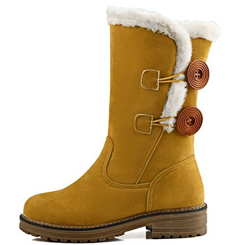 COOLCEPT Damen Flach Warm Synthetic Fell Lined Stiefeletten Mit Button Fur Boots Gelb