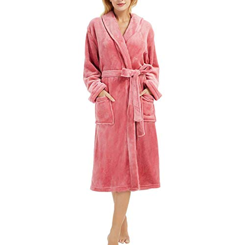 MRULIC Damen Bademantel Prato Mit V-Kragen Größen Winter Verlängert Plüsch Schal Langarm Robe Fleece Mantel Tasche Kuschelfleece Kapuze Flanell(A-Rot,S)