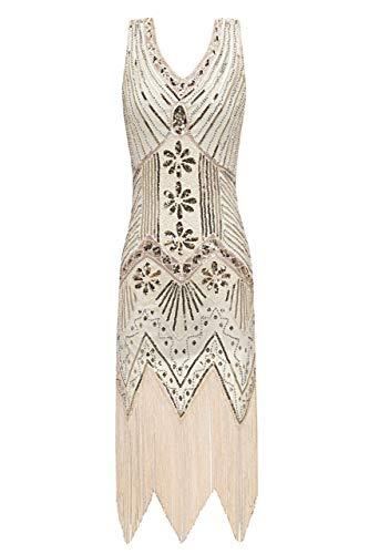 (Metme Damen der 1920er Jahre V Ausschnitt Perlen Fransen Gatsby Thema Flapper Kleid für Abschlussball)