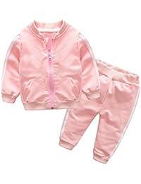 JiaMeng Ropa para niños Chaqueta Abrigada a Prueba Manga Larga, Chaqueta de Cremallera sólida + Pantalones, Conjuntos de Ropa para niños