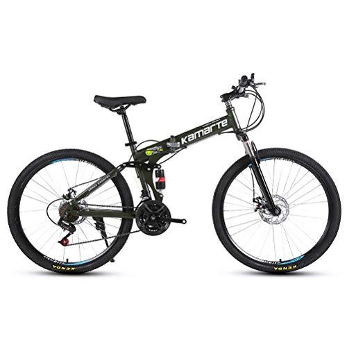 CYXYXXYX Pedalata Assistita Pendolare Ciclismo Mountain Bike 26 Pollici Acciaio al Carbonio 21 Biciclette Doppi Freni A Disco velocità Variabile Bici da Corsa Bicicletta da Corsa Pieghevole,Verde