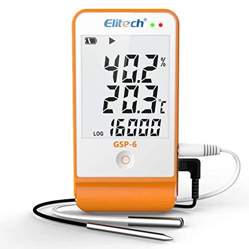 Elitech Thermometer Hygrometer Thermo-Hygrometer Feuchtigkeits-Meter Feuchtigkeit Monitor Innen/Außen Temperatur Messgerät Thermostat Sensor Sonde (GSP-6) -