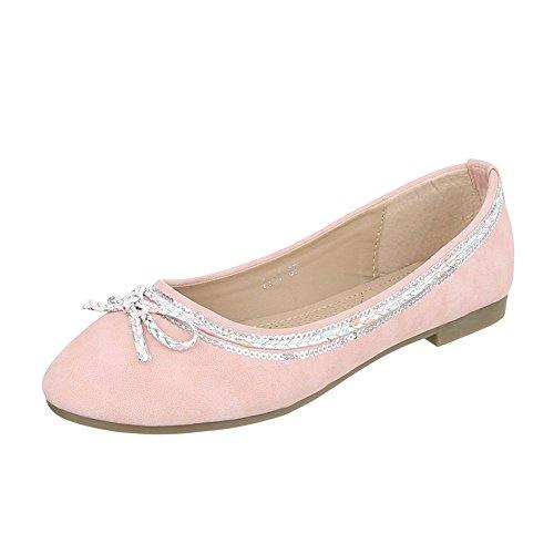 Ballerinas Damen-Schuhe Geschlossen Blockabsatz Blockabsatz Ital-Design Ballerinas Rosa, Gr 39, 11-1- (Rosa Ballerinas)