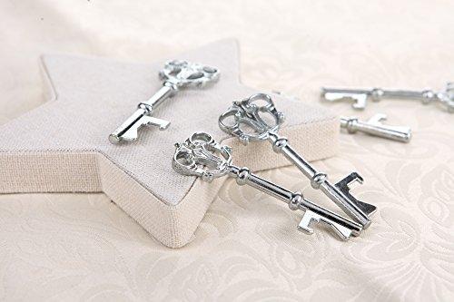 Flaschenöffner in Form von antiken Schlüsseln, Antik-Look, rustikaler Stil, tolles Gastgeschenk auf Hochzeiten, silberfarben, 40Stück (Antike Flasche Party Favor)