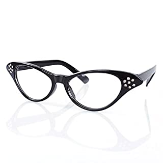 A-szcxtop ™ Vintage Cateyes 80s inspirierte Mode transparent Objektiv Cat Eye Brille mit Strass