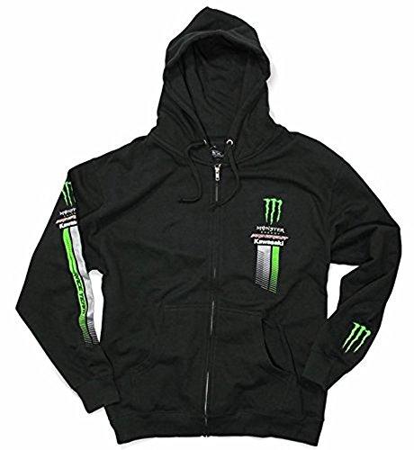 Pro Circuit Kapuzen Sweatshirt Jacke ! Monster Energy Kawasaki ! Neu ! Schwarz Grün (L)