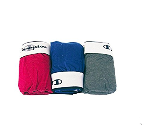 Champion Men's 3Pk Knit Boxers, Grey/Red/Blue, X-Large (Boxer Knit Logo)