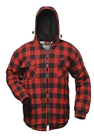 Chemise thermique Chemise de travail Veste de travail a carreaux et fourré avec capuche - Craftland - S - 3XL - Tissu, rouge/noir, 3XL