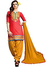 Fkart Women's Pink And Orange Embroidered Cotton Semi Stitched Patiala Suit With Dupatta (FK-1016_FREE_SIZE)