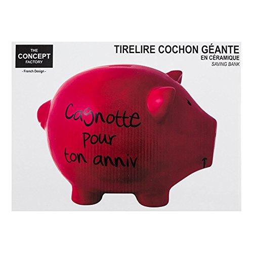 Hucha cerdo XL rojo 'Cagnotte Pour Ton Anniv'