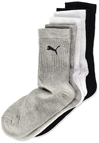 PUMA Kinder Sport JUNIOR 3P Socken, Grey/White/Black, 31-34 (3er Pack)