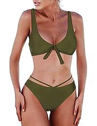 03ff79cafd BMJL Women's Knotted Tie Bikini Sets Triangle Cheeky Sexy Swimwear V Neck  Swimming Costume Two Piece