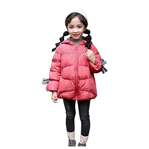 Oyedens Infant Baby Mädchen Bowknot Daunenjacke Winterjacke Langarm Volltonfarbe Bow Hooded Cotton Jacket Parka Mäntel Mit Kapuze 3-6 Jahre -