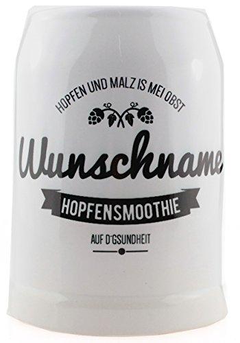 Bavariashop Stein Bierkrug Motiv Hopfensmoothie, Gravur Namen mit Wunschtext, Farbe Weiß, 0,5 Liter