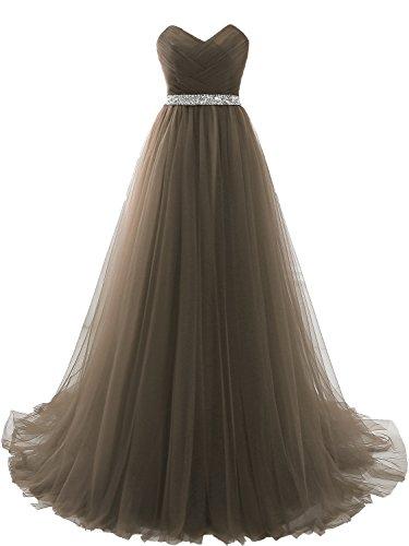 Clearbridal Damen Tüll Bandeau Lang Abendkleid Ballkleid Abschlusskleid Prinzessin SQS16422 Grau...