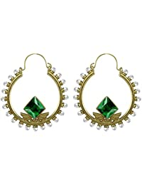 Spargz Traditional Indian Gold Plated Pearl Hoop Earrings For Women AIER 951