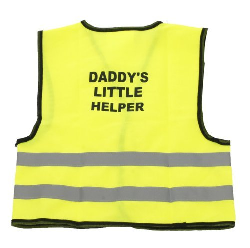 Kids Hi-Viz Neon Grün Sichtbarkeit Little Helper Weste (S, 0-6 Monate, Daddy'S Little Helper)