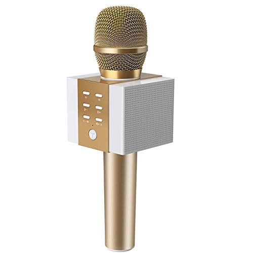 TOSING 008 drahtloses Bluetooth Karaokemikrofon, lauteres Volumen 10W Energie, mehr Baß, 3-in-1 beweglicher Handdoppeltsprecher-Mic-Maschine für iPhone/Android/iPad/PC (gold)