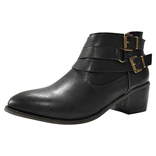 Womens Geschlossene Zehe Kurz (LILIHOT Damen Vintage Knöchel Rom Spitz Casual Single Schuhe Kurze Stiefel Knöchel Stiefeletten Spitze Reißverschluss Stiletto High Heels Stiefel)