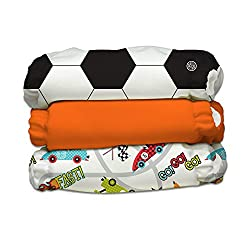 Charlie Banana 3 Piece Diapers with 6 Inserts Hybrid AIO, Sporty Pants