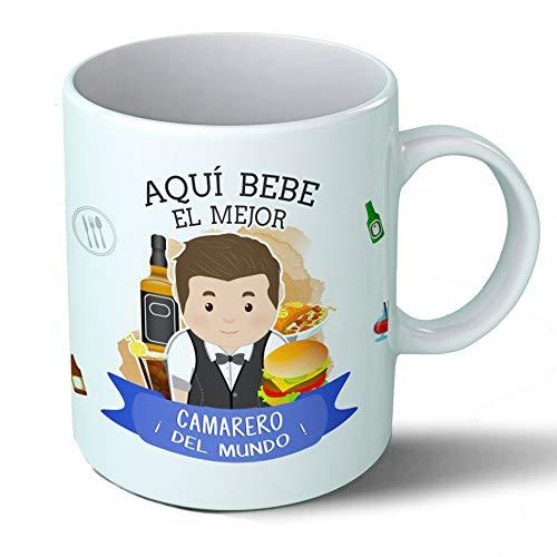 Planetacase Taza Desayuno Aquí Bebe el Mejor Camarero del Mundo Regalo Original Restaurante Bar Ceramica 330 ML