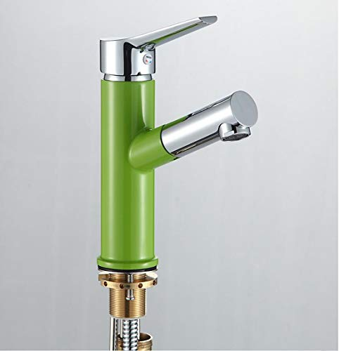 Sucastle Professionel Einhand-Spültischarmatur, Einzelgriffhebel Ziehen Sie Art Hahn, Küchenspülen-Becken-Mischbatterien(Grün) -