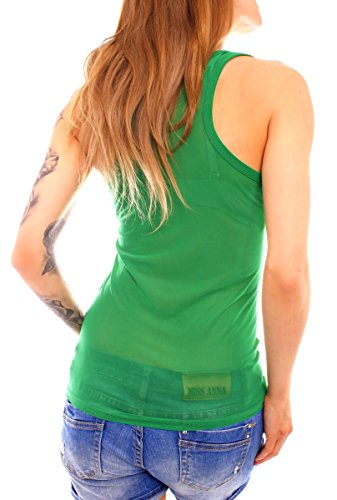 Easy Young Fashion Damen Top Tanktop Trägertop Mesh Netz transparent One Size Grün