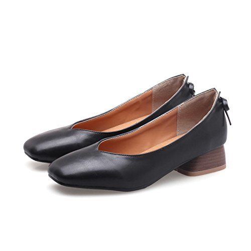 RFF-Frühlings-, Sommer- und Herbstschuhe Damen Pumps/Geschlossene Ballerinas/Riemchenpumps/Bow Tie Women's Shoes in The Spring with Heavy and Light-Solid Color Low Shoes with,Black,43 Solid Black Bow Tie
