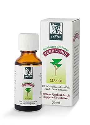 BADERs Teebaumoel MA-100, Haut, Akne, Warzen, 30ml. Pharma-Qualitaet, doppelt destilliert. 100% reines melaleuca alternifolia. Hilfreich bei unreiner Haut, Akne, Warzen etc. Lichtschutz-Faltschachtel