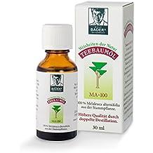 BADERs Teebaumöl MA-100, 30ml. Pharma-Qualität, doppelt destilliert. 100% reines melaleuca alternifolia. Hilfreich bei unreiner Haut, Akne, Warzen etc. Lichtschutz-Faltschachtel. Pharma-Nr: 0237966