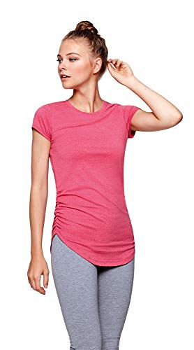 Guuja Damen Yoga Pilates Shirt Longshirt Top Fitness Training Funktionsshirt atmungsaktiv schnell trocknend