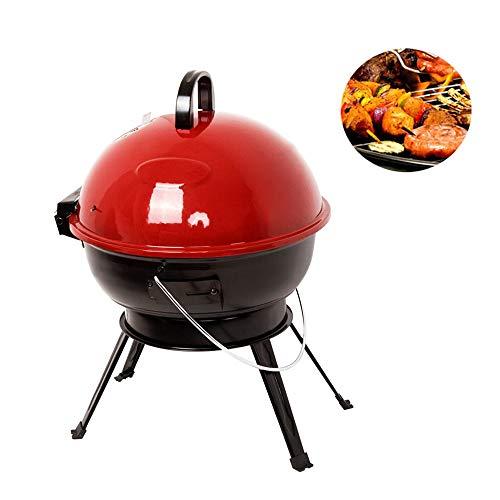 LiRongPing Tragbarer Holzkohlegrill für Grillen im Freien 14-Zoll-Grill und Raucher Heat Control Runde BBQ Wasserkocher Picknick im Freien -