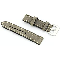 Owfeel Greyish-green Leather Watch Band Strap Replacement Watch Belt 20mm