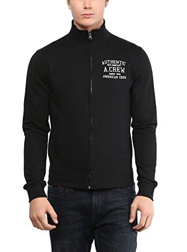 American Crew Men's Solid Full Sleeves Black Zipper Jacket With Applique -L (ACJK09-L)