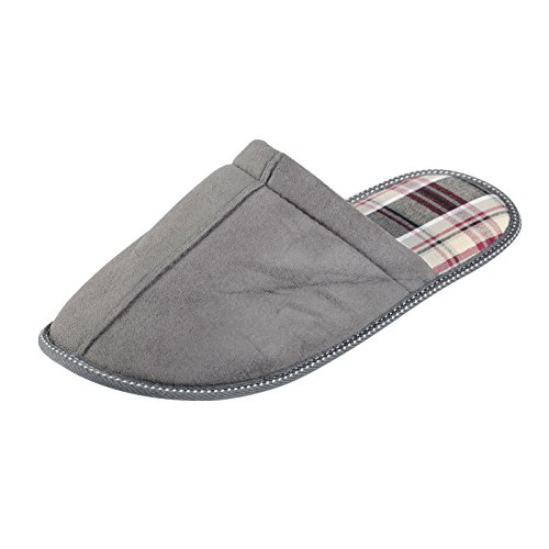 Mens Brooklyn Mule Slippers Faux Suede Outer Soft Tartan Lining - Grey UK 7