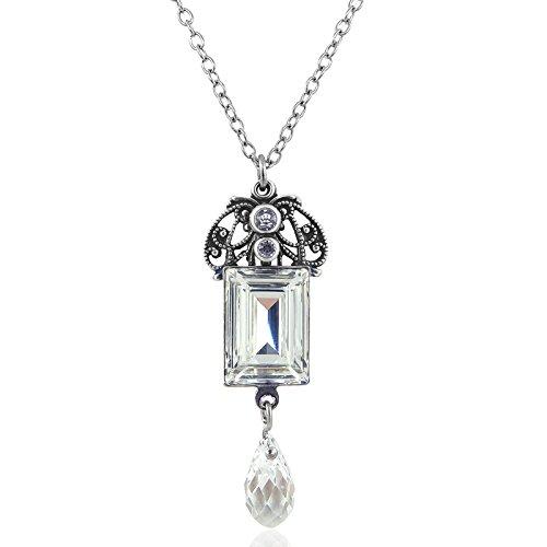 nobel-schmuck Jugendstil Kette mit Kristalle von Swarovski Silber