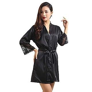 Women Sexy Silk Kimono Dressing Sleepwear Lingerie, Babydoll Lace Belt Bath Robe Nightwear Elegant Satin Gown Robe Silk Kimono Satin Sleepwear Pajama Black XL