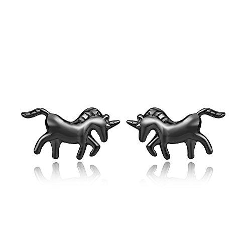 TRENDWERT® Einhorn-Ohrstecker-Ohrringe aus 925 Sterling-Silber mit silber, schwarz oder rose-gold Veredelung für Kinder Damen Mädchen (Schwarz)
