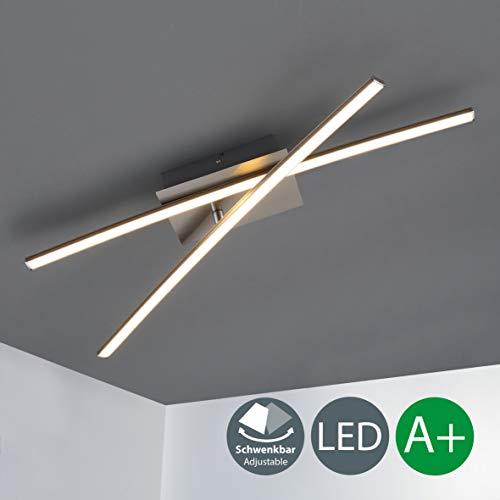 Plafoniera LED da soffitto, LED integrati, luce calda 3000K, 1200Lm, Lampadario moderno minimalista per illuminazione da interno, Lampadario camera da letto soggiorno cucina, color nickel opaco, IP20