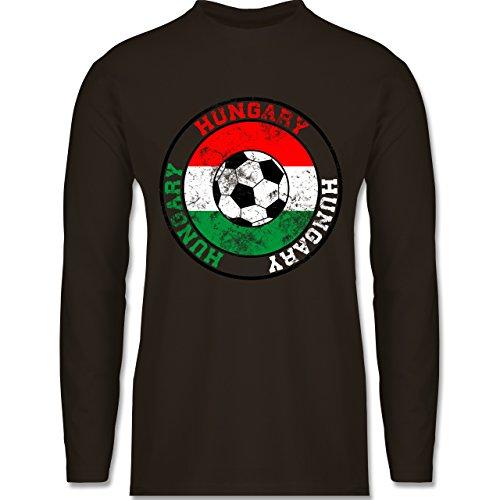 Shirtracer Fußball - Hungary Kreis & Fußball Vintage - Herren Langarmshirt Braun