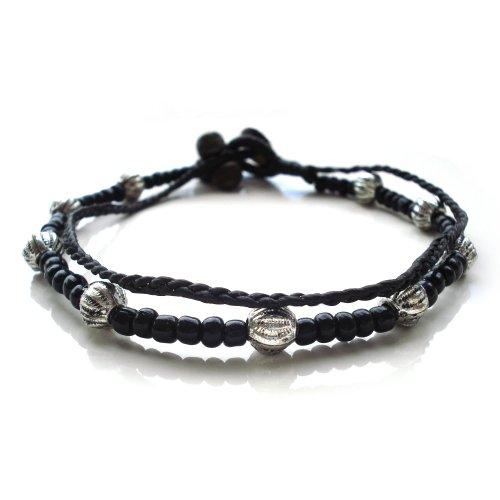 Idin Jewellery Cordoncino di cera doppia corda fatto mano con cavigliera di perline color nero e argento