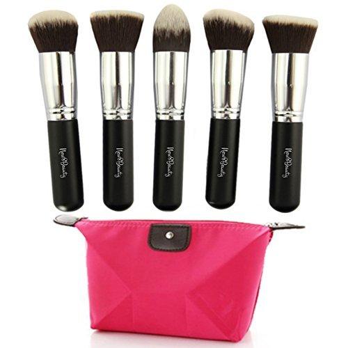 New8Beauty Kabuki pinceaux de maquillage - 5pcs Collection Premium Set