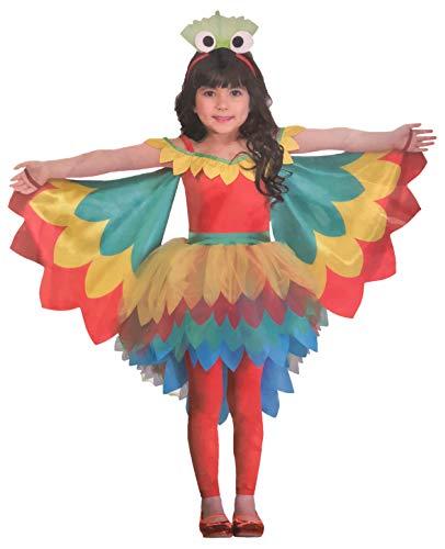 Brandsseller Mädchen Kostüm Verkleidung Fasching Karneval Party - in verschiedenen Größen erhältlich (Small (4-6 Jahre), Papagei)
